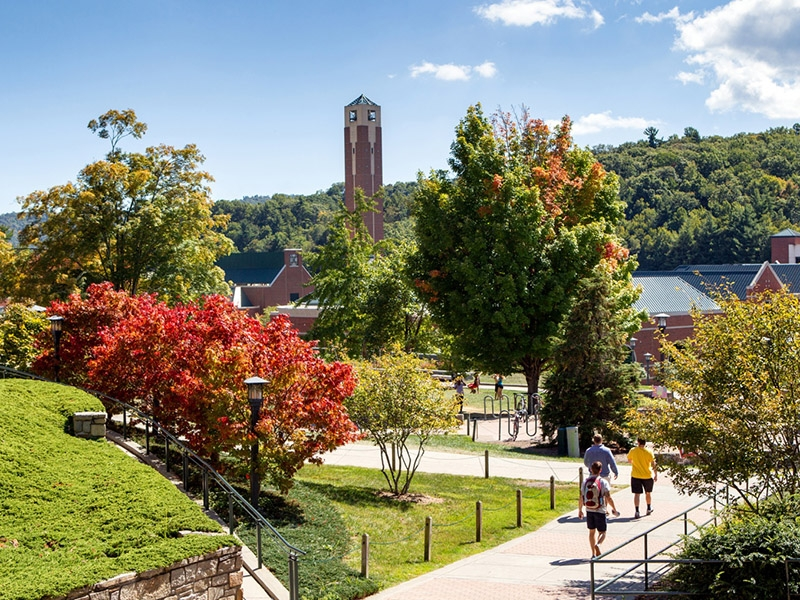 View of Appalachian State campus and bell tower in autumn