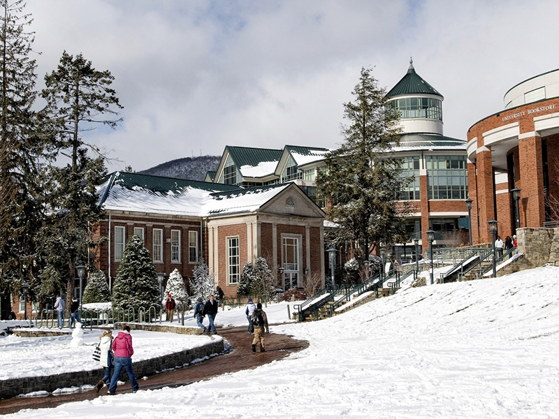 Appalachian State campus in snowy conditions